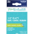 """Brother P-touch Embellish White Print on Lime Green Laminated Tape 12mm (~1/2"""") x 4m"""