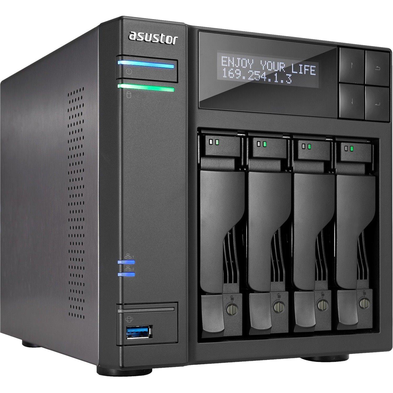 ASUSTOR AS7004T 4 x Total Bays NAS Storage System - Intel Core i3 Dual-core (2 Core) 3.50 GHz - 2 GB RAM - DDR3 SDRAM Desktop