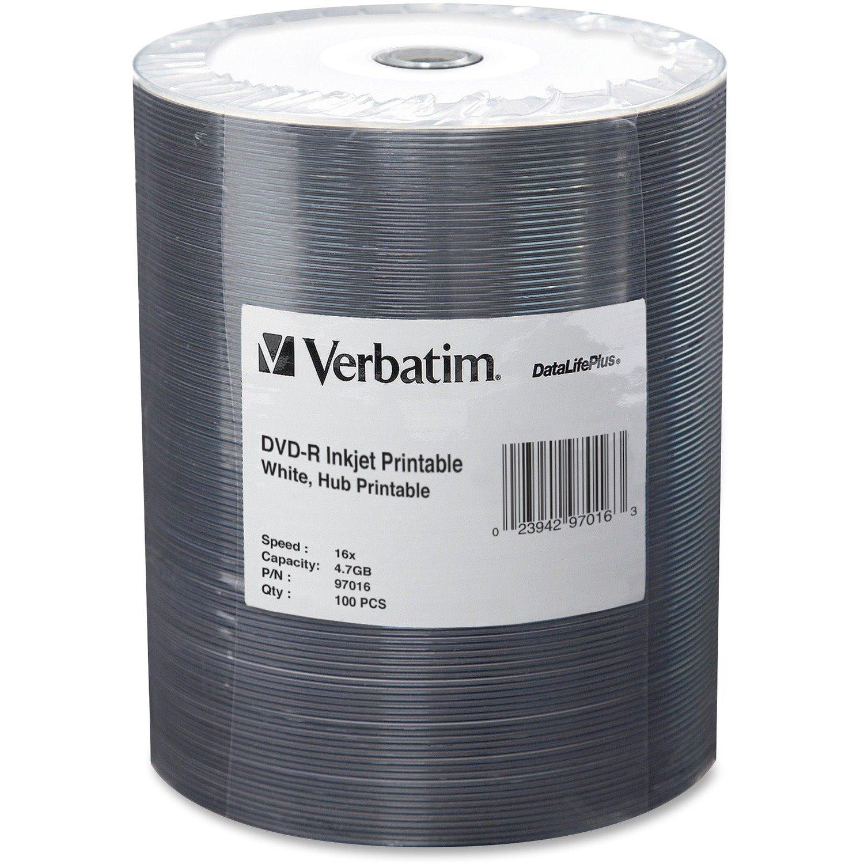 Verbatim DVD-R 4.7GB 16X DataLifePlus White Inkjet Printable, Hub Printable - 100pk Tape Wrap