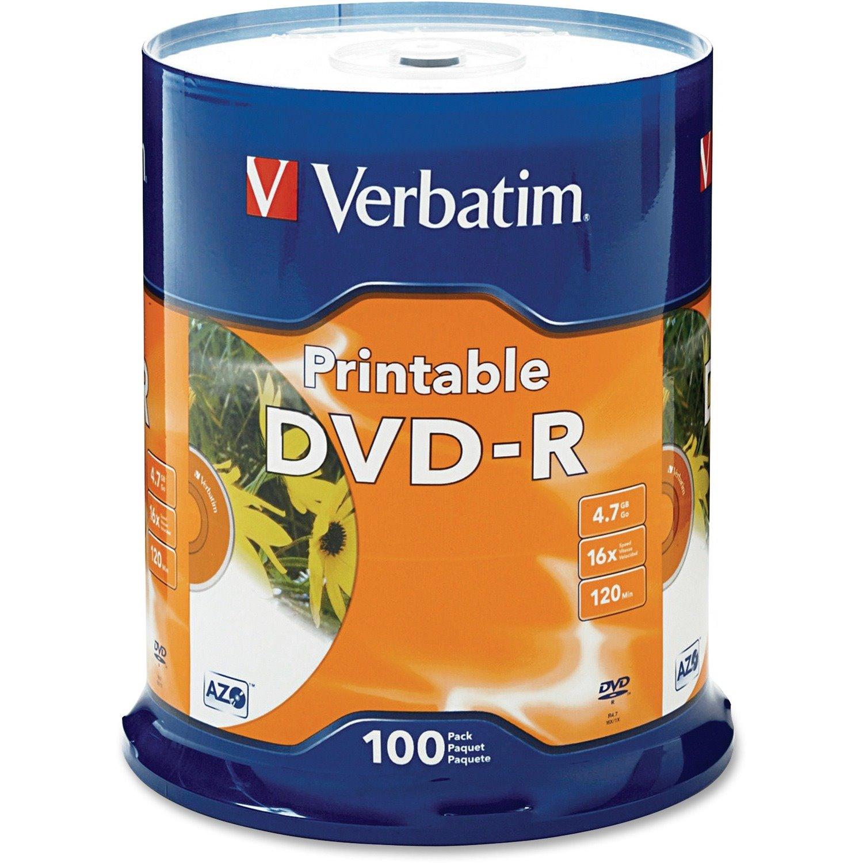 Verbatim DVD Recordable Media - DVD-R - 16x - 4.70 GB - 100 Pack
