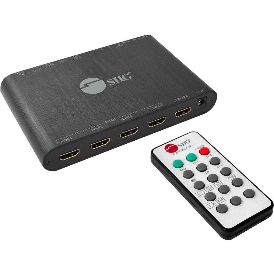 SIIG 4x1 HDMI Seamless Quad-Split Multi-Viewer Switcher