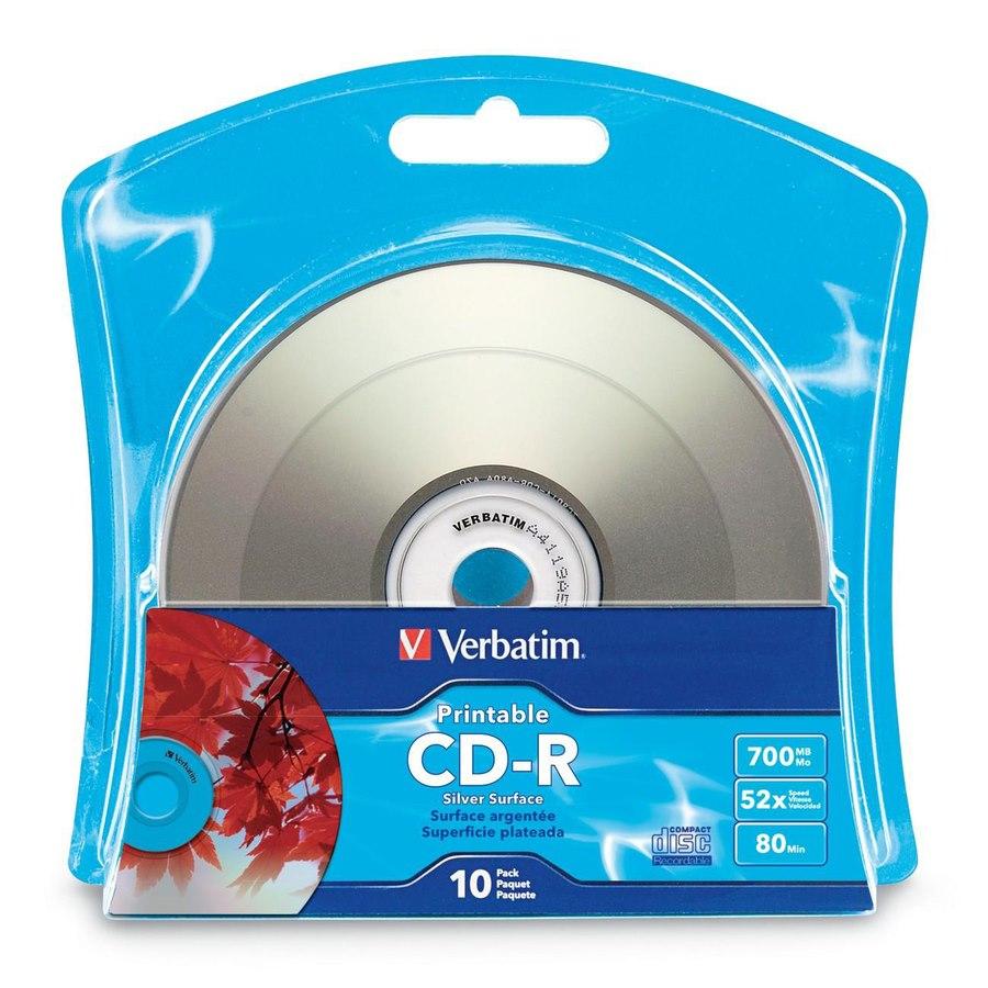 Verbatim CD-R 700MB 52X Silver Inkjet Printable with Branded Hub - 10pk Blister