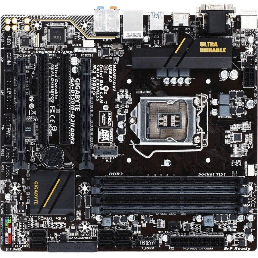 Gigabyte Ultra Durable GA-B150M-D3H DDR3 Desktop Motherboard - Intel Chipset - Socket H4 LGA-1151 - Micro ATX