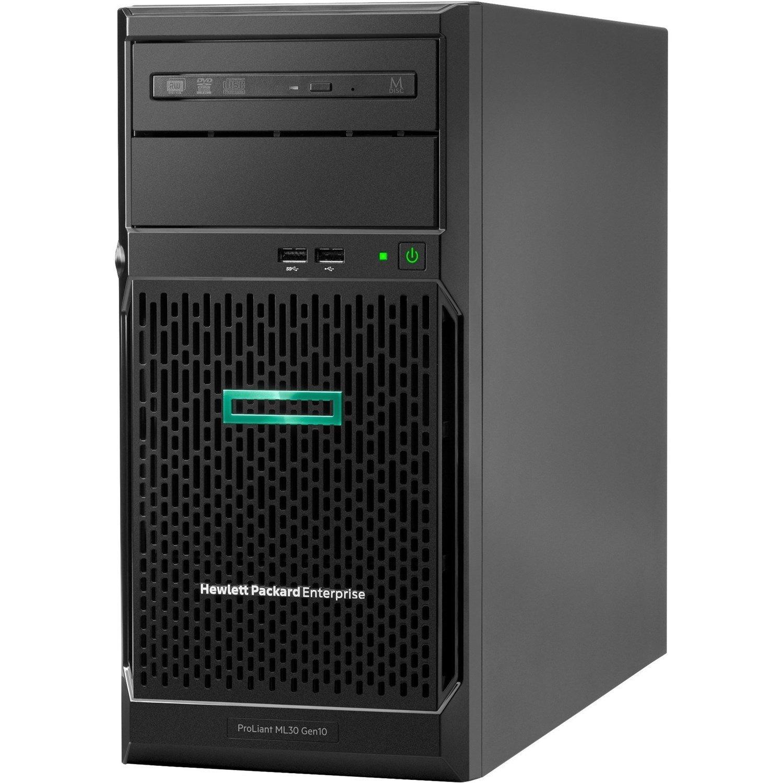 HPE ProLiant ML30 G10 4U Tower Server - 1 x Intel Xeon E-2224 3.40 GHz - 16 GB RAM HDD SSD - Serial ATA/600 Controller