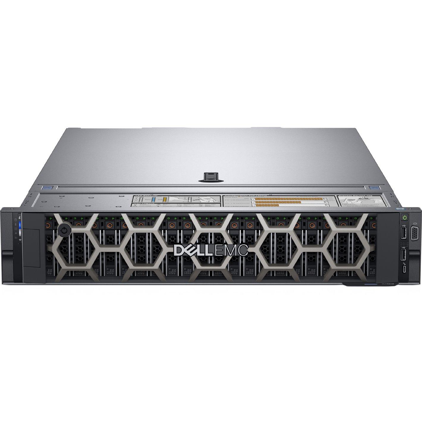 Dell EMC PowerEdge R740 2U Rack Server - 1 x Intel Xeon Silver 4214 2.20 GHz - 96 GB RAM - 2.40 TB (2 x 1.20 TB) HDD - 12Gb/s SAS, Serial ATA/600 Controller