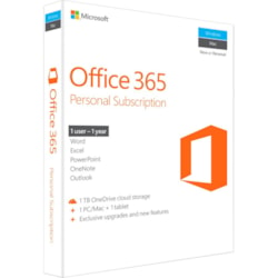Microsoft Office 365 Personal Subscription + Exclusive upgrades and new features - 1 User, 1 PC/Mac, 1 Tablet, 1 TB OneDrive Cloud Storage - 1 Year