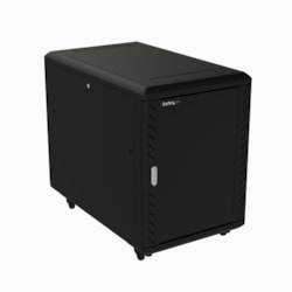 StarTech.com 15U Floor Standing Rack Cabinet for Server, LAN Switch, Patch Panel, KVM Switch, A/V Equipment - 482.60 mm Rack Width x 812.80 mm Rack Depth - Black