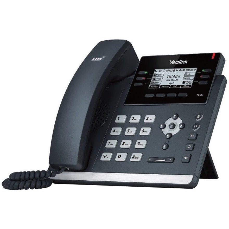 Yealink SIP-T42S IP Phone - Corded/Cordless - Corded/Cordless - Bluetooth, Wi-Fi - Wall Mountable, Desktop - Black