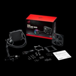 Asus Rog Ryuo 120 All-In-One Liquid Cpu Cooler With Color Oled, Aura SYNC RGB, And Rog Designed 120MM Radiator Fan