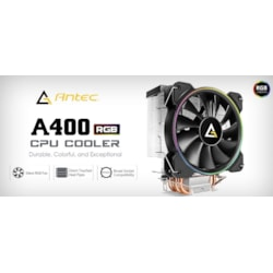Antec A400 RGB Cpu Air Cooler, Direct Heat-Pipies, Silent RGB PWM Fan, Broad Socket Support, Thermal Paste Included. MTBF 50K HRS, 3 Years Warranty