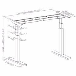 Brateck High Performance 3-Stage Dual Motor Sit-Stand Desk 1000~1500X600X620~1280MM( WhiteFRAME Only); Requires TP15075 For The Board