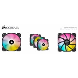 Corsair Black SP120 RGB Elite, 120MM RGB Led PWM Fan With AirGuide, Triple Pack With Lighting Node Core