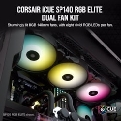 Corsair SP140 RGB Elite, 140MM RGB Led Fan With AirGuide, Dual Pack With Lighting Node Core