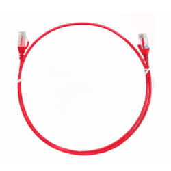 8Ware Cat6 Ultra Thin Slim Cable 3M / 300CM - Red Color Premium RJ45 Ethernet Network Lan Utp Patch Cord 26Awg For Data Only, Not PoE