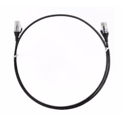 8Ware Cat6 Ultra Thin Slim Cable 2M / 200CM - Black Color Premium RJ45 Ethernet Network Lan Utp Patch Cord 26Awg For Data Only, Not PoE