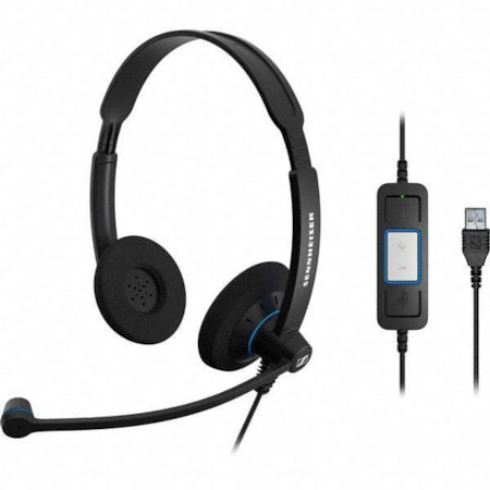 Sennheiser SC60 Binaural Wideband Office Headset, Integrated Call Control, Usb Connect, Activegard Protection, Large Ear Pad, Noise Cancel Mic, 2 YR