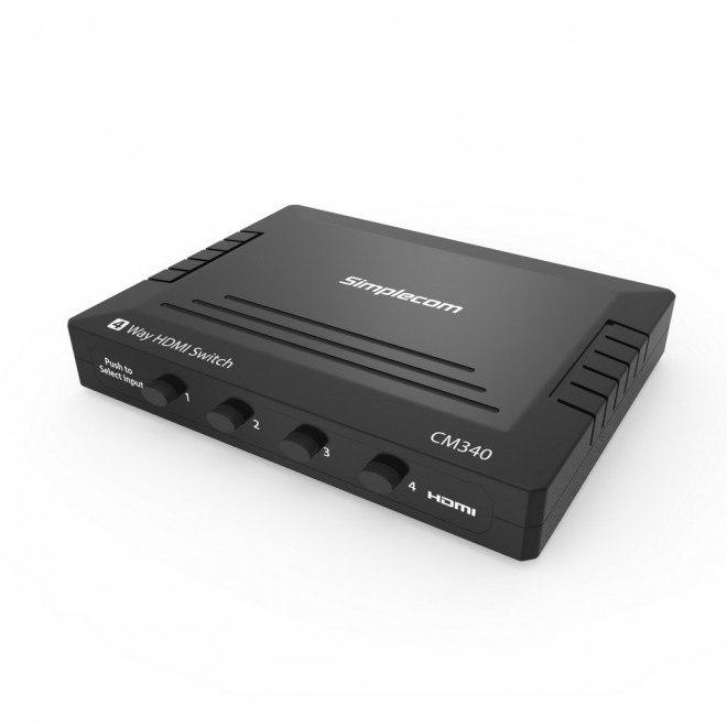 Simplecom CM340 Mechanical 4 Way Hdmi Switch Box 4 Port 4K Uhd HDCP