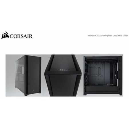 Corsair 5000D TG E-Atx, Atx, Usb Type-C, 2X 120MM Airguide Fans, Radiator 360MM. 7X Pci, 4X 2.5' SSD, 2X 3.5' HDD. Vga 420MM. Black Tower Case