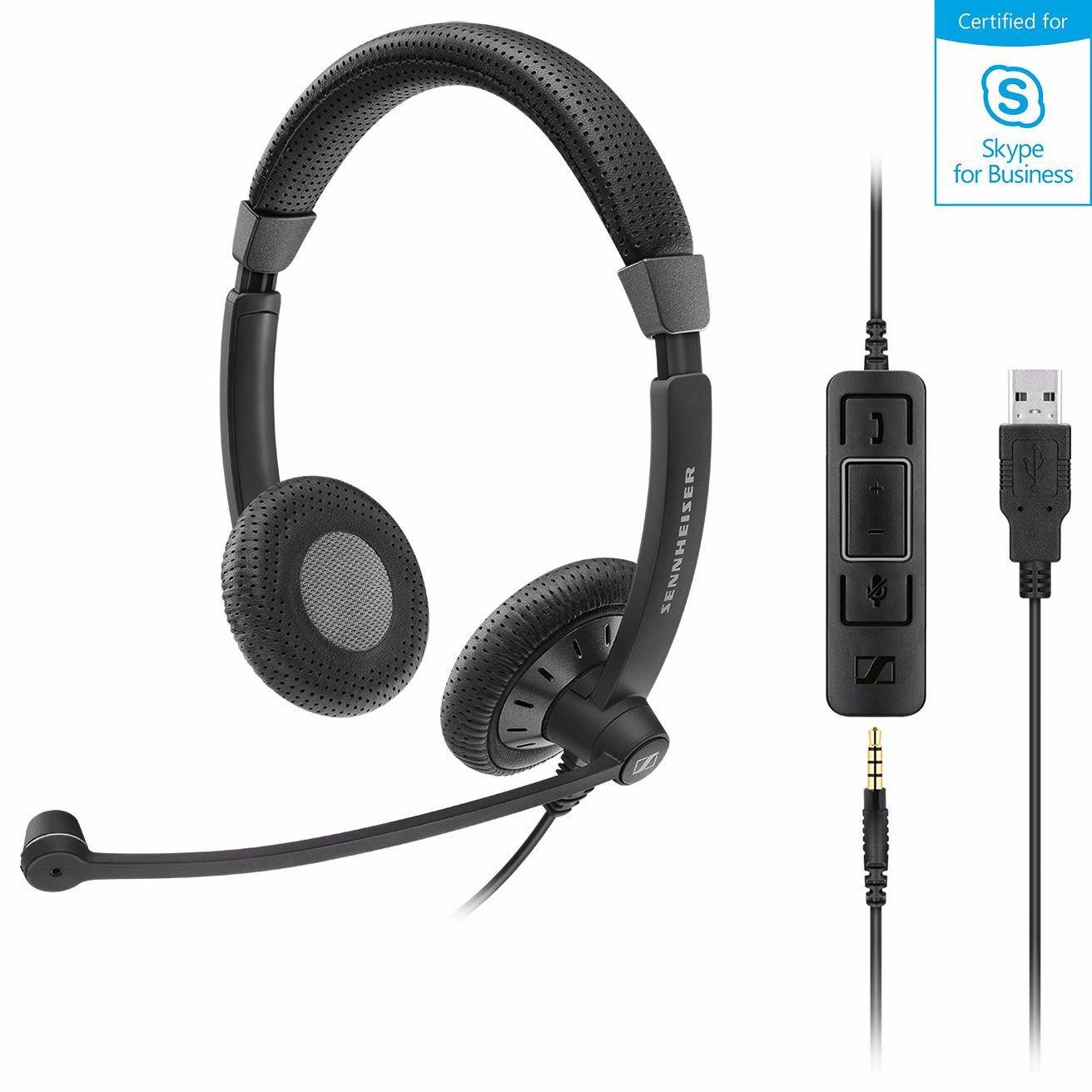 Sennheiser Epos I Sennheiser SC75 Usb Stereo Headset, Usb / 3.5MM Connections, Teams Certified, Noise Cancel Mic, Lightweight, 2 YR Warranty