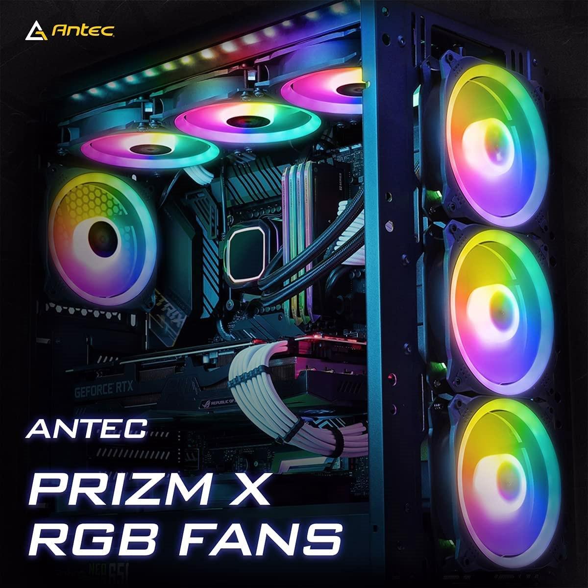 Antec Prizm X 120MM Argb Fan 3+C 3X RGB Dual Ring PWM Fan, 2 X Led Strip, And 1X RGB Fan Controller. 2 Years Warranty
