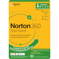 Norton 360 Standard, 10GB, 1 User, 1 Device, 12 Months, PC, Mac, Android, Ios, DVD, Oem